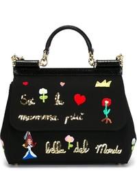 Bolso de hombre de cuero bordado negro de Dolce & Gabbana