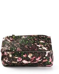 Bolso de hombre de cuero con print de flores negro
