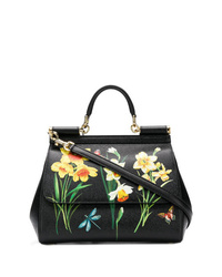 Bolso de hombre de cuero con print de flores negro de Dolce & Gabbana