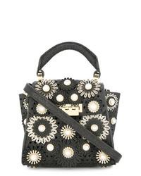 Bolso de hombre de cuero con print de flores negro de Zac Zac Posen