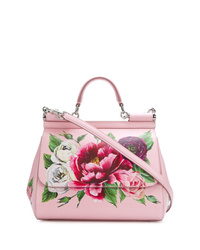 Bolso de hombre de cuero con print de flores rosado de Dolce & Gabbana