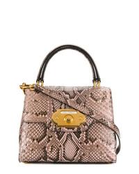 Bolso de hombre de cuero con print de serpiente marrón claro de Dolce & Gabbana