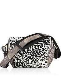 Bolso de hombre de cuero de leopardo en negro y blanco