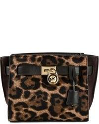 Bolso de hombre de cuero de leopardo marrón de MICHAEL Michael Kors