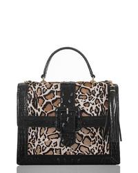 Bolso de hombre de cuero de leopardo negro