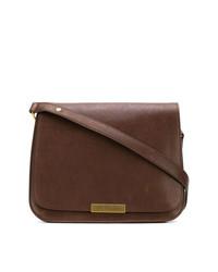 Bolso de hombre de cuero en marrón oscuro de Saint Laurent