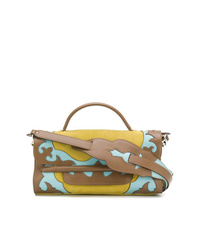 Bolso de hombre de cuero estampado marrón de Zanellato