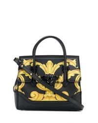 Bolso de hombre de cuero estampado negro de Versace