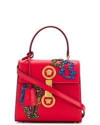 Bolso de hombre de cuero estampado rojo de Versace