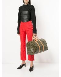 Bolso deportivo de cuero estampado marrón de Louis Vuitton Vintage