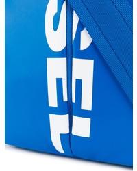 Bolso Mensajero de Cuero Azul de Diesel