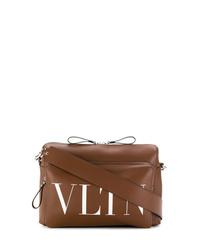 Bolso mensajero de cuero marrón de Valentino
