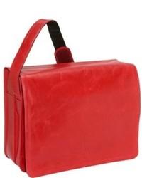 Bolso mensajero de cuero rojo