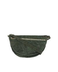 Bolso mensajero de cuero verde oscuro