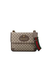 Bolso mensajero de lona marrón de Gucci