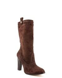 Botas a media pierna de ante en marrón oscuro
