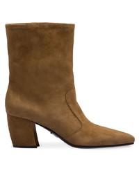 Botas a media pierna de ante marrónes de Prada