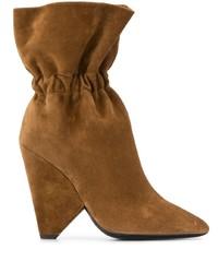 Botas a media pierna de ante marrónes de Saint Laurent
