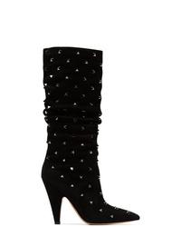 Botas a media pierna de ante negras de Valentino