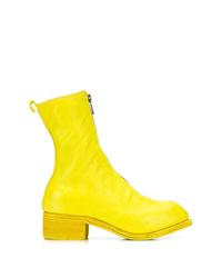 Botas a media pierna de cuero amarillas de Guidi