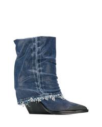 Botas a media pierna de cuero azul marino de Diesel