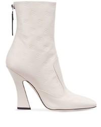 Botas a media pierna de cuero blancas de Fendi