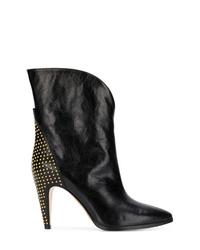 Botas a media pierna de cuero con tachuelas negras de Givenchy
