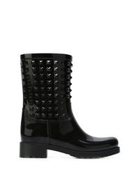 Botas a media pierna de cuero con tachuelas negras de Valentino