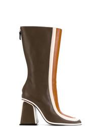 Botas a media pierna de cuero en marrón oscuro de Marni