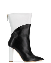 Botas a media pierna de cuero en negro y blanco de Malone Souliers