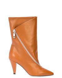 Botas a media pierna de cuero en tabaco de Givenchy