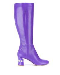 Botas a media pierna de cuero en violeta de Miu Miu