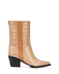 Botas a media pierna de cuero marrón claro de Chloé