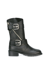 Botas a media pierna de cuero negras de Giuseppe Zanotti Design