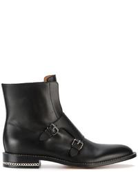 Botas a media pierna de cuero negras de Givenchy