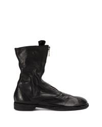 Botas a media pierna de cuero negras de Guidi
