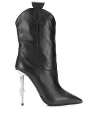 Botas a media pierna de cuero negras de Philipp Plein