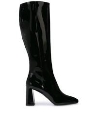 Botas a media pierna de cuero negras de Prada