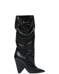 Botas a media pierna de cuero negras de Saint Laurent