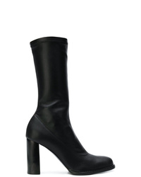 Botas a media pierna de cuero negras de Stella McCartney