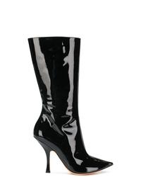 Botas a media pierna de cuero negras de Y/Project