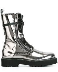 Botas a media pierna de cuero plateadas de Dolce & Gabbana