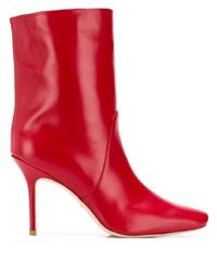 Botas a media pierna de cuero rojas de Stuart Weitzman