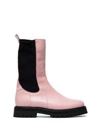 Botas a media pierna de cuero rosadas de MARQUES ALMEIDA