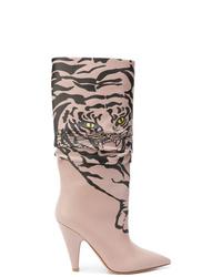 Botas a media pierna de cuero rosadas de Valentino