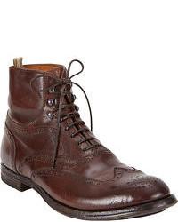 Botas brogue de cuero en marrón oscuro