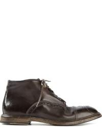Botas brogue de cuero en marrón oscuro de Dolce & Gabbana