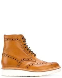 Botas brogue de cuero marrón claro de Grenson