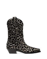 Botas camperas de ante en gris oscuro de Dolce & Gabbana