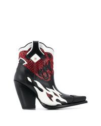 Botas camperas de cuero en multicolor de Valentino